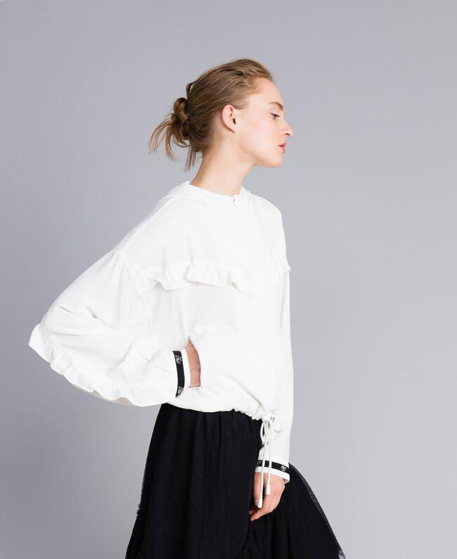 Jacke aus Georgette mit Rüschen Weiß Schnee Frau PA82HA-03
