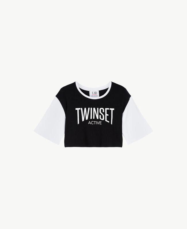 T-shirt court Bicolore Noir / Blanc Optique Femme LS87QQ-01