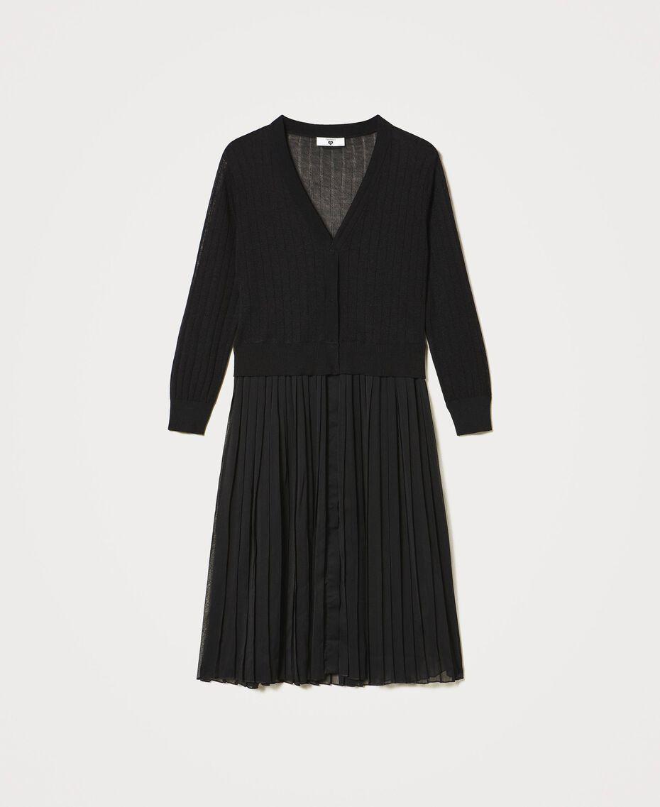 Cardigan long avec insertion plissée Noir Femme 211LL3NGG-0S