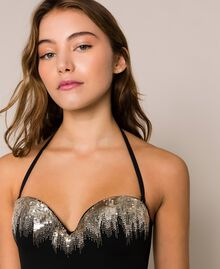 One-piece swimsuit with sequins Black Woman 201LBM100-04