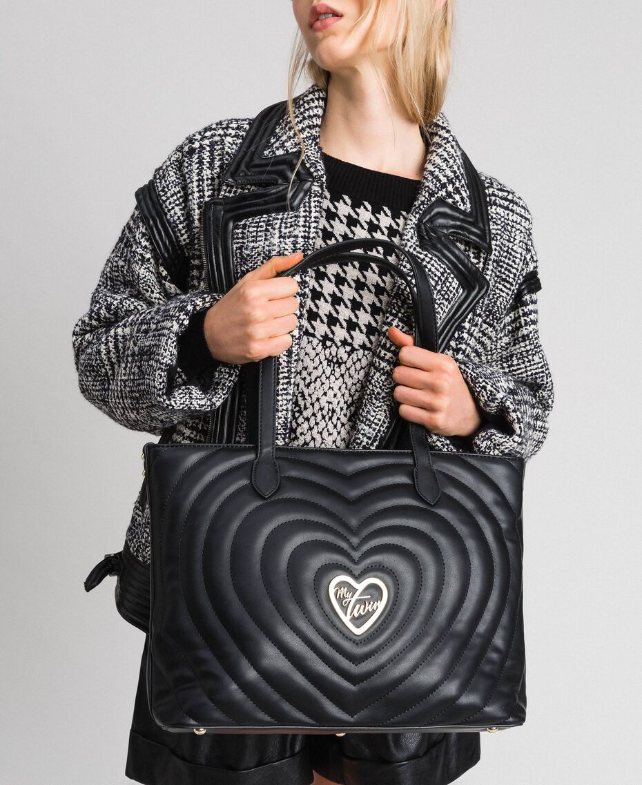 Faux leather shopping bag with quilted hearts Black Woman 192MA7081-0S