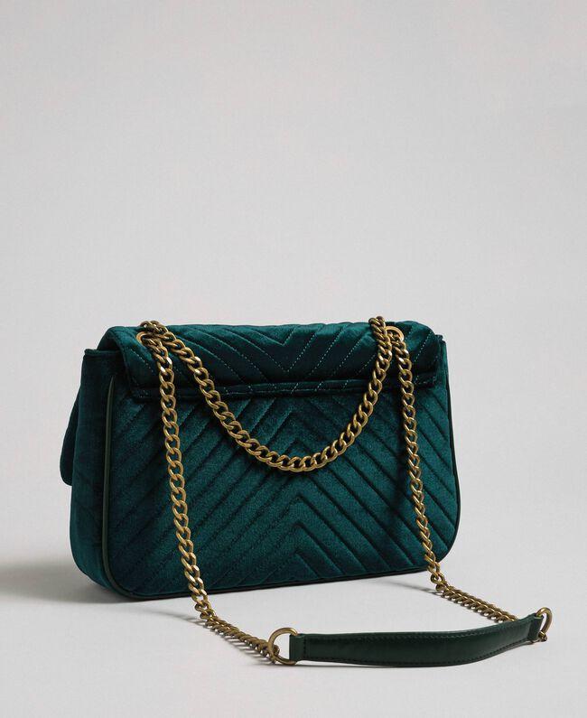 Quilted velvet shoulder bag Dark Green Woman 192TA7090-04
