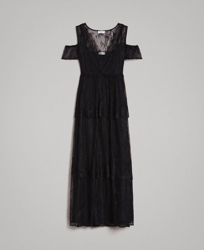 Flounced long Chantilly lace dress Black Woman 191ST2123-0S