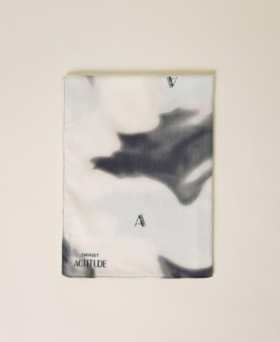 Schal aus Tuch mit Print Print rauchiges Perlmutt-Weiß Frau 212AO534B-01