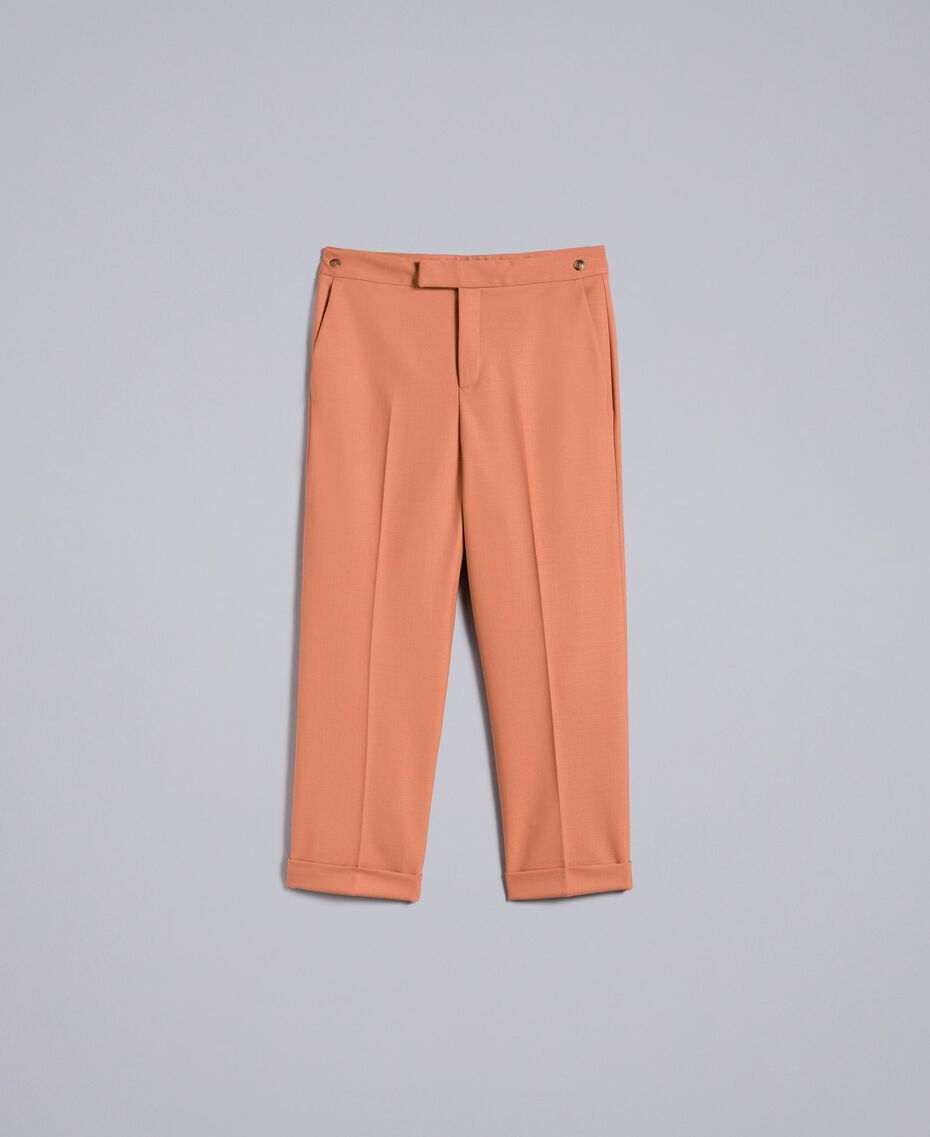 "Bi-stretch wool trousers ""Earth"" Brown Woman TA827R-0S"