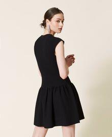 Robe côtelée avec jupe plissée Noir Femme 212AP3280-03