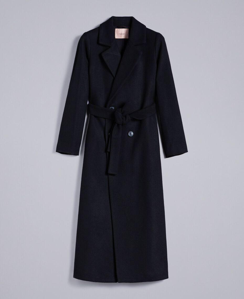 Langer, zweireihiger Mantel aus Tuch Schwarz Frau TA821L-0S