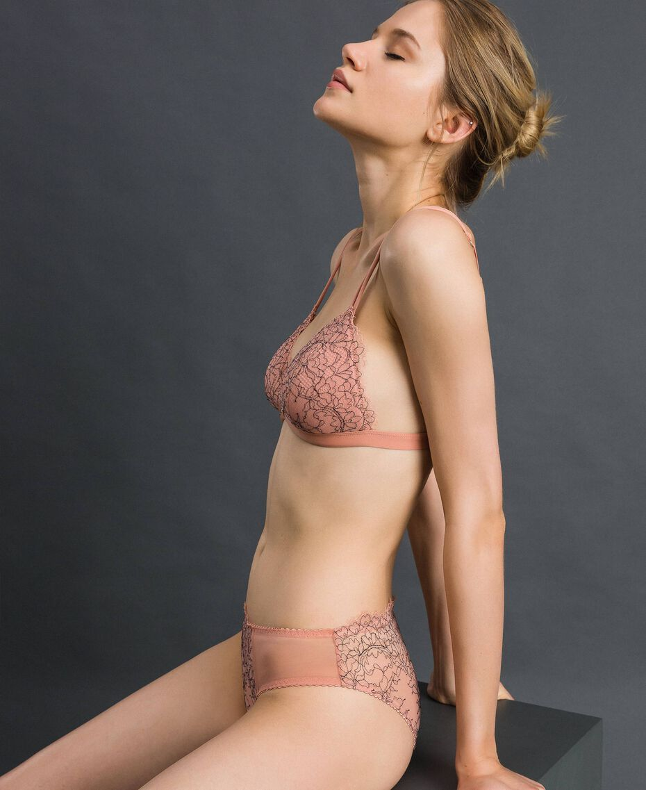 Two-tone lace briefs Peach Rose / Black Woman 192LI6466-02