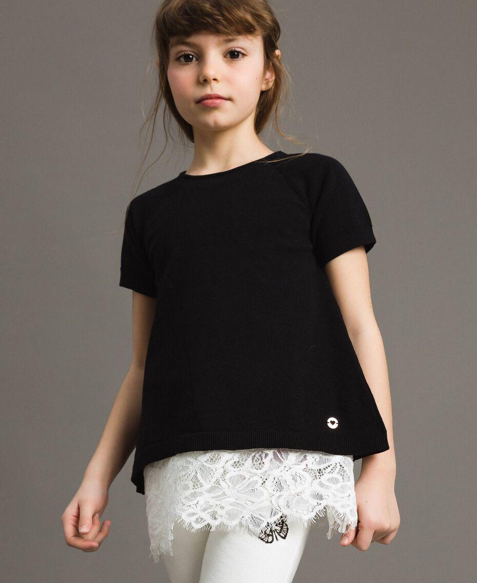 Pullover aus Baumwolle und Spitzen-Top Zweifarbig Schwarz / Off White Kind 191GJ3020-0S