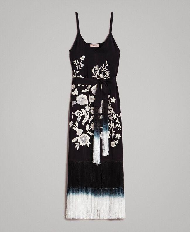 838c176c461 Robe longue avec broderies florales et franges Noir Femme 191TT2134-0S