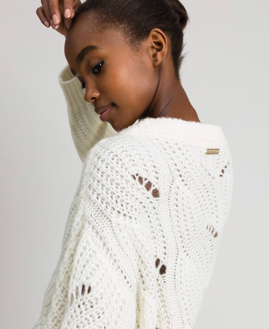 Openwork oversized jumper with studs Ivory Woman 192LL3HGG-03