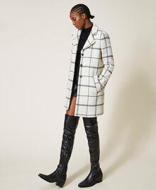 Пальто из жаккардового сукна Большая Клетка Двухцветный Черный Белый / Черный женщина 202TP224A-02