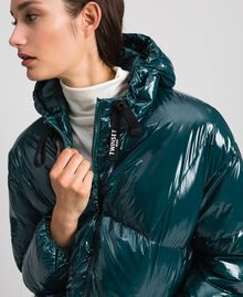 Doudoune courte matelassée en plumes véritables Vert Foncé Femme 192TP2500-05
