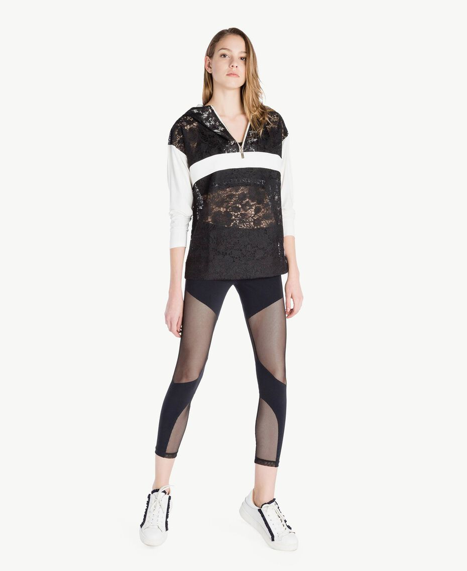 Lace sweatshirt Two-tone Black / Optical White Woman LS89AA-02