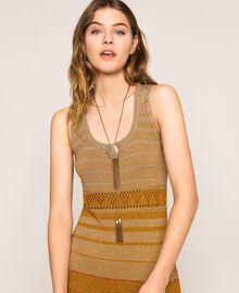 Collier réglable avec coquillage et pompons Or «Laiton Vieilli Cuivré» Femme 201TO530B-0S