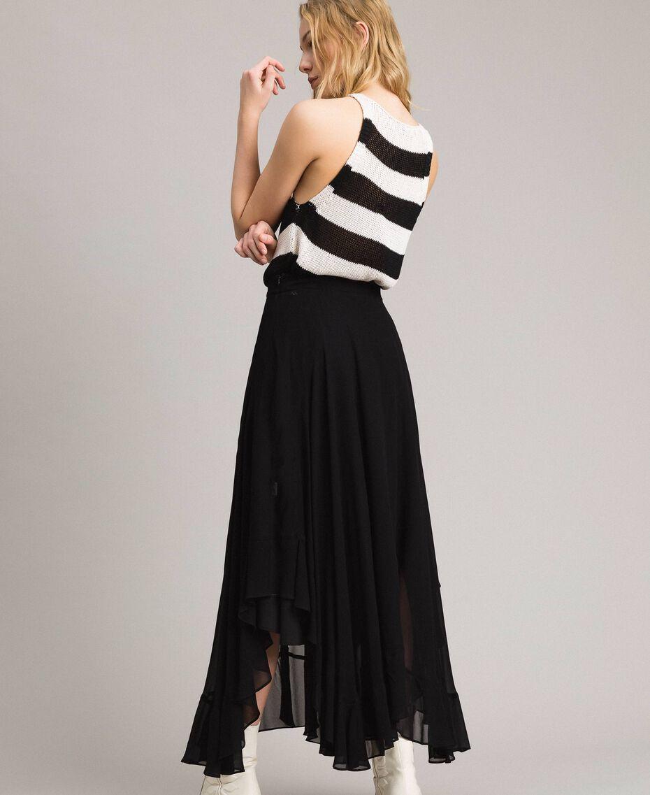 Georgette mid-length skirt Black Woman 191TP2125-03