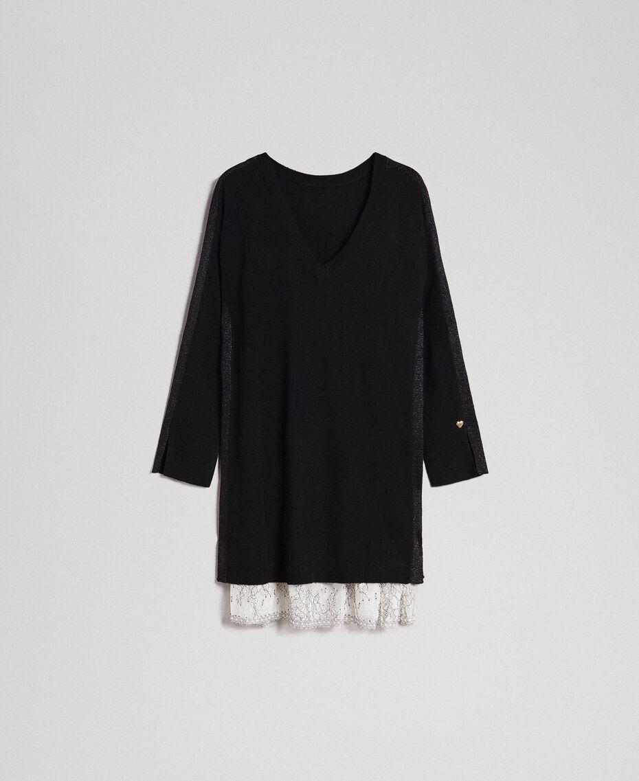 Kleid mit Lurexstreifen und Unterkleid Schwarz Frau 192MP3100-0S