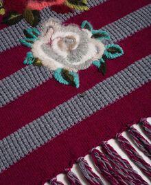 Sciarpa in maglia a righe con ricamo e frange Riga Rosso Beet / Grigio Mélange Donna 192TA441K-03