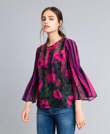 "Bluse aus Chiffon mit Blumenprint Print ""Flower&Stripes"" Frau TA829N-02"