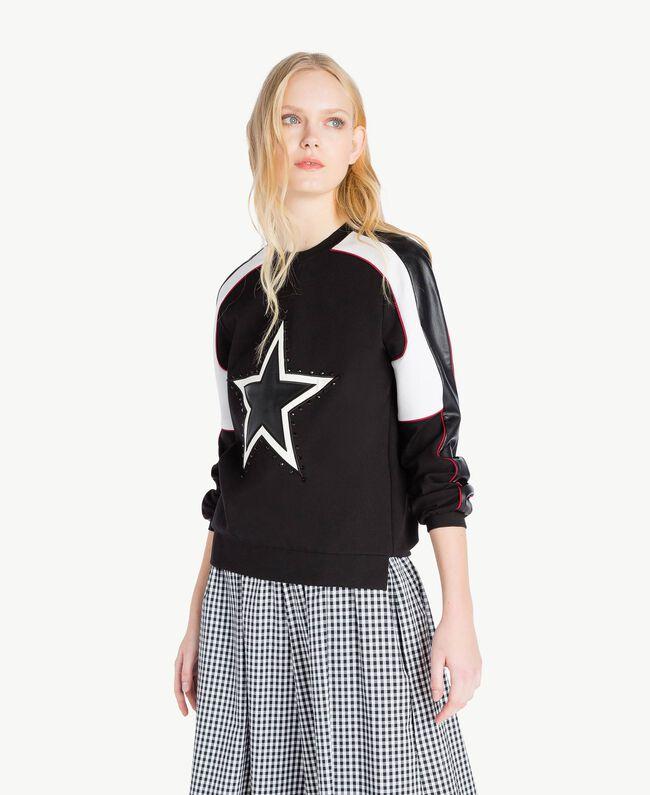 Sweatshirt mit Stern Mehrfarbig Schwarz / Himbeerrot / Optisches Weiß Frau JS82FC-01