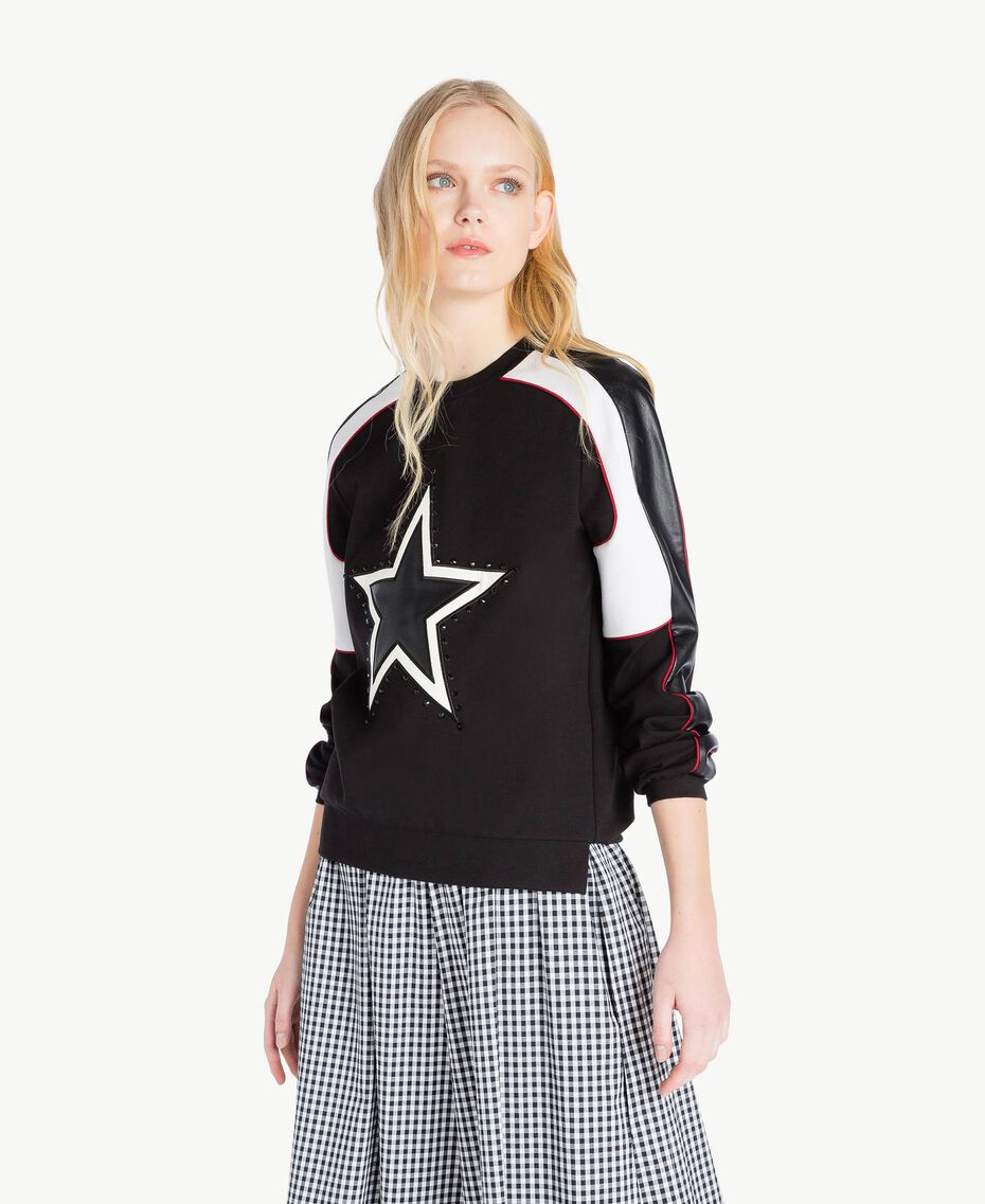 Stars sweatshirt Multicolour Black / Raspberry Red / Optical White Woman JS82FC-01