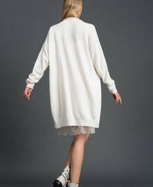 Maxi cardigan en cachemire mélangé avec fond de robe Blanc Neige Femme 192TT3092-03
