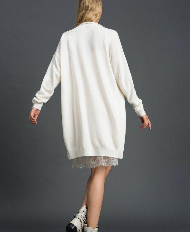 Maxi cardigan en cachemire mélangé avec fond de robe Noir Femme 192TT3092-03