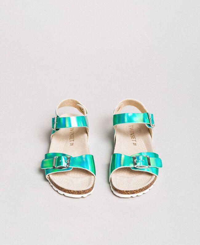 "Beschichtete Leder-Sandalen Blau ""Wasser"" Kind 191GCJ162-04"