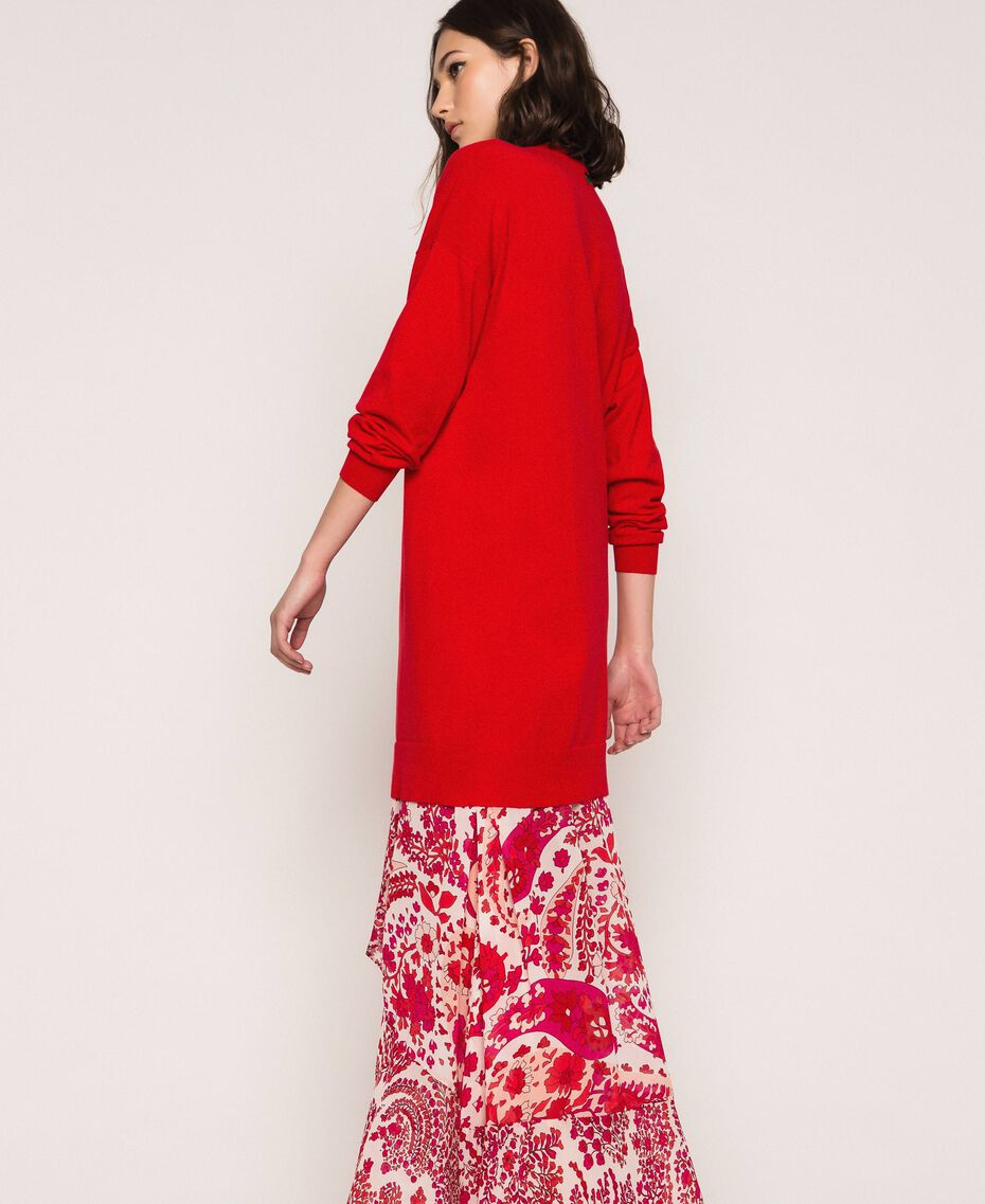 Vestido con flecos de estrás Rojo «Lava» Mujer 201TP3080-02