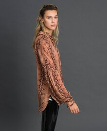 Animal print georgette blouse Canyon Pink Python Print Woman 192TT2272-02