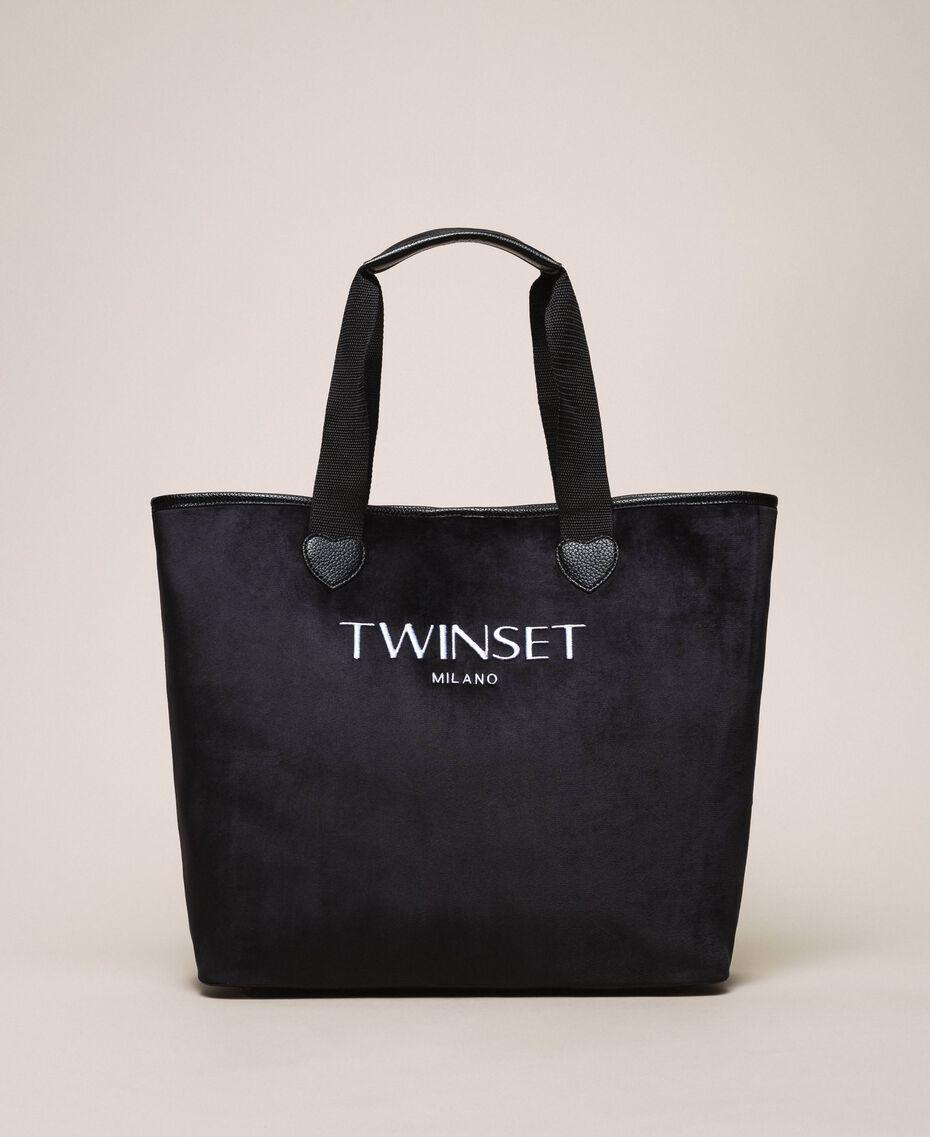 Бархатная сумка-шоппер с пошетом Черный женщина 999TA7010-01