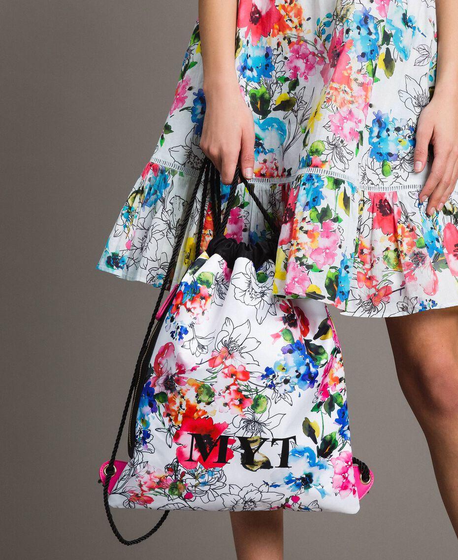 Rucksack mit Blumenmuster Fluoreszierendes Rosa Frau 191MO8061-0S