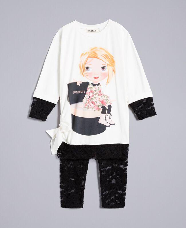 T-shirt con stampa e leggings in pizzo Bicolor Off White / Nero Bambina FA821V-01