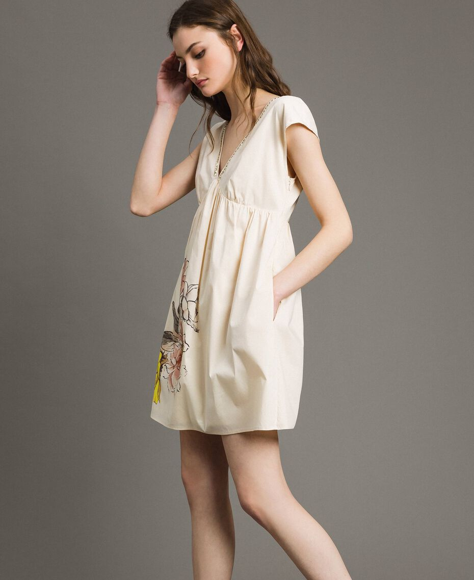 "Poplin dress with print and studs ""Shell"" Beige Woman 191MT2140-03"