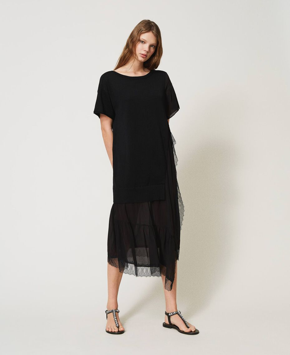 Linen blend dress with lace Black Woman 211TT3151-01
