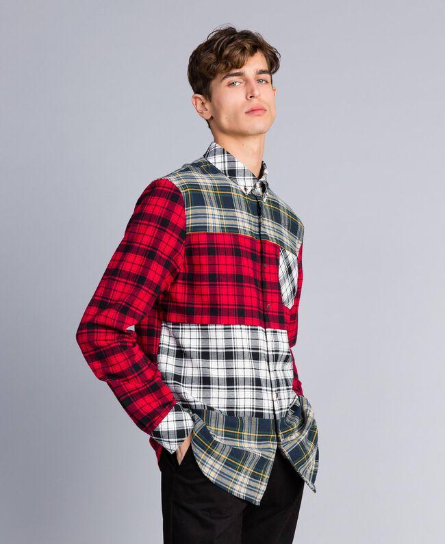 Camicia in flanella tartan Multicolor Plaid Flannel Uomo UA82EA-01