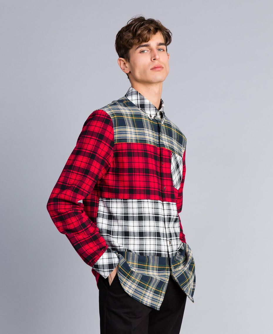 Camicia in flanella tartan Multicolor Plaid Flannel Uomo UA82EA-01