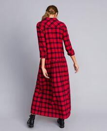 Robe longue en flanelle à carreaux Bicolore Plaid Flanelle Rouge Coquelicot/ Noir Femme YA82EB-03