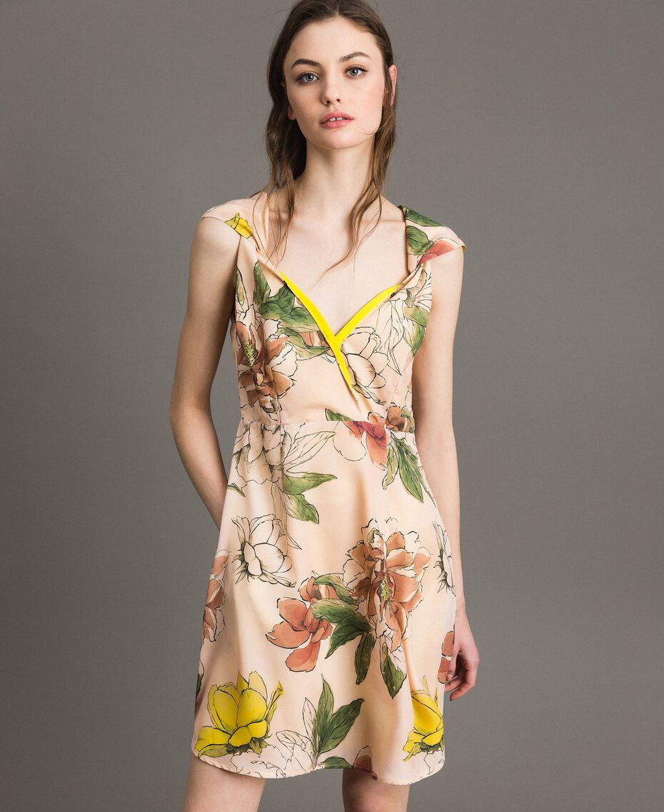 "Floral print crêpe de Chine dress All Over ""Shell"" Beige Flower Print Woman 191MT2211-01"
