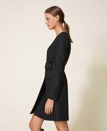 "Lurex pin striped dress with belt Black / ""Lurex"" Gold Pin Stripe Woman 202TT2176-03"