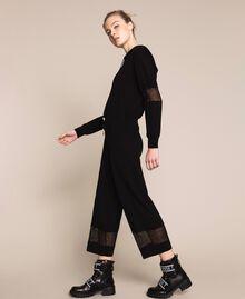 Pantaloni in maglia con pizzo Nero Donna 201LL3GBB-01