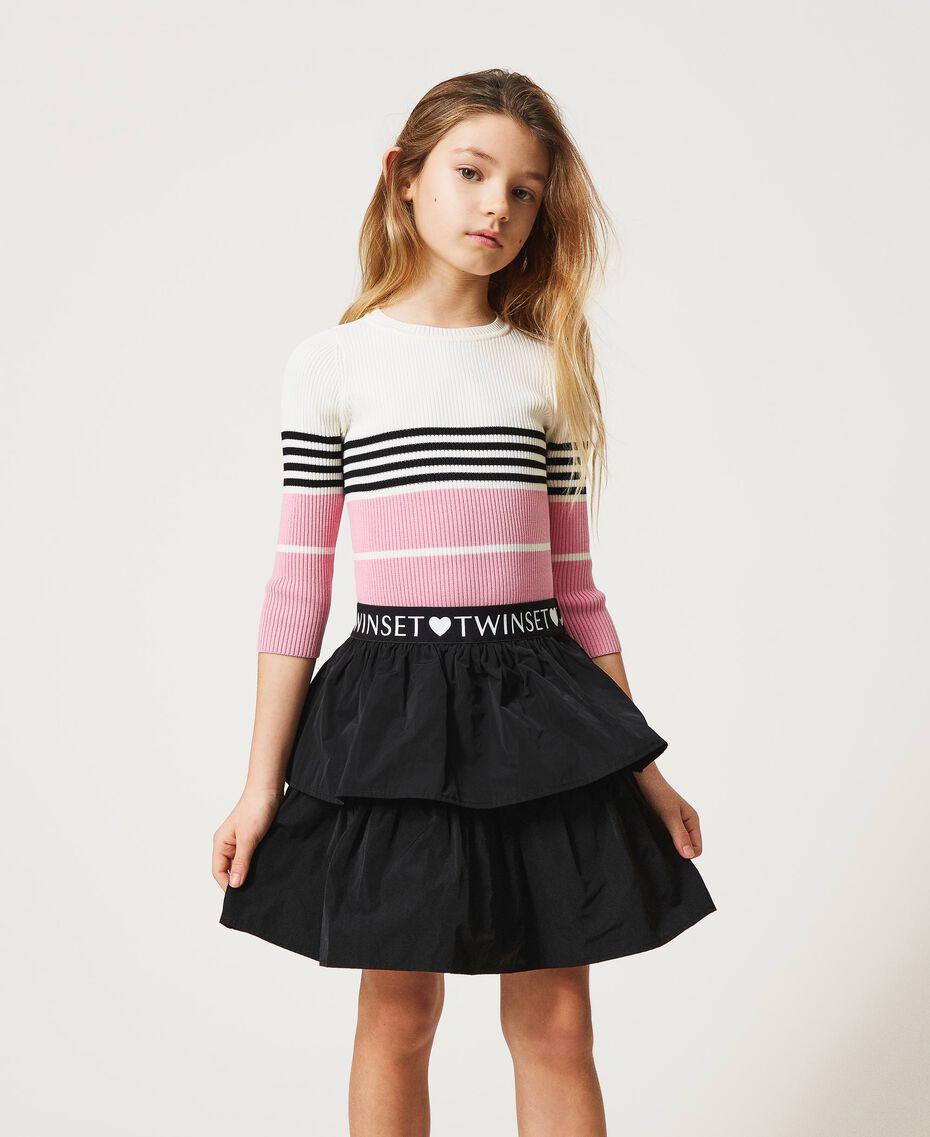 "Colour block ribbed jumper ""Off White"" / Black / ""Rose Bloom"" Pink Multicolour Child 211GJ3500-01"