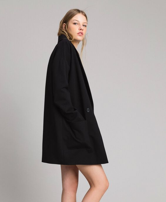 Milan stitch duster coat with brooch