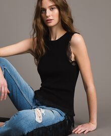 Ribbed top with ruffle Black Woman 191TT3043-04