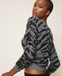 Cardigan-jumper with animal pattern sequins Gunmetal Grey Woman 202TP3151-05