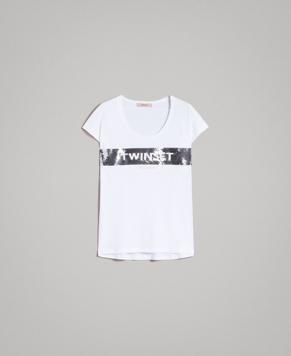 T-Shirt mit Pailletten und Logo Weiß Frau 191TP260E-0S