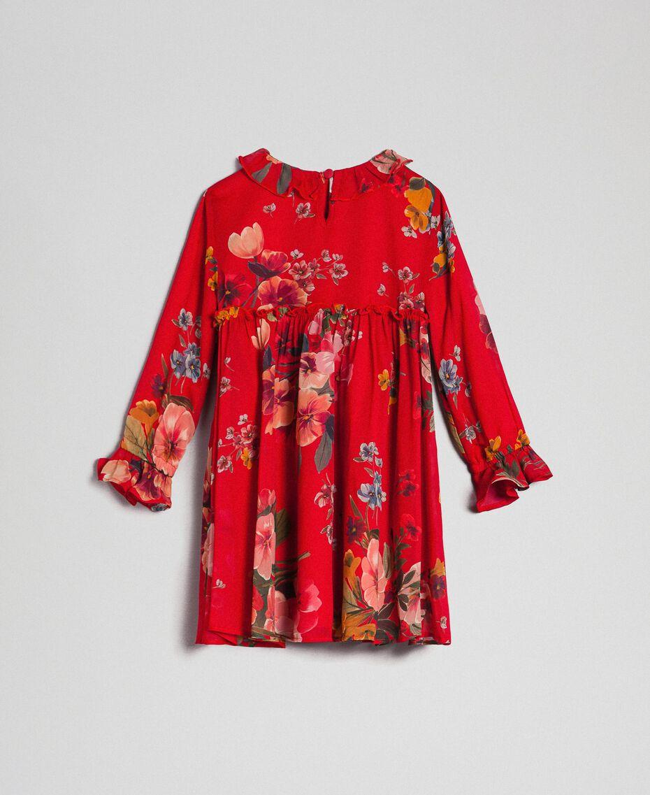 Vestido de georgette con estampado de flores Estampado Rojo Beet Geranio Niño 192GB2720-0S