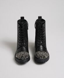 Leather combat boots with full rhinestone toe Black Woman 192TCP01J-05