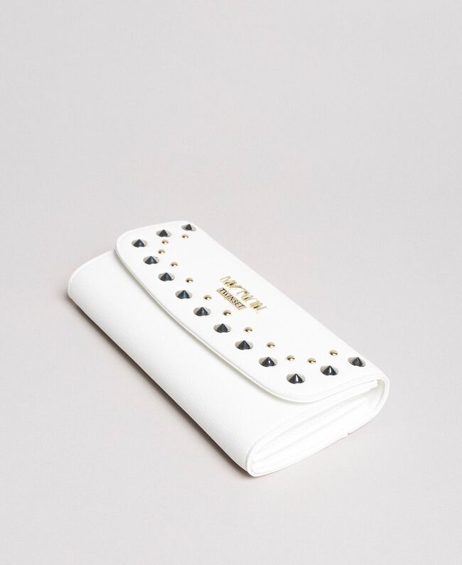 Faux leather wallet with studs White Cream Woman 191MA7144-01