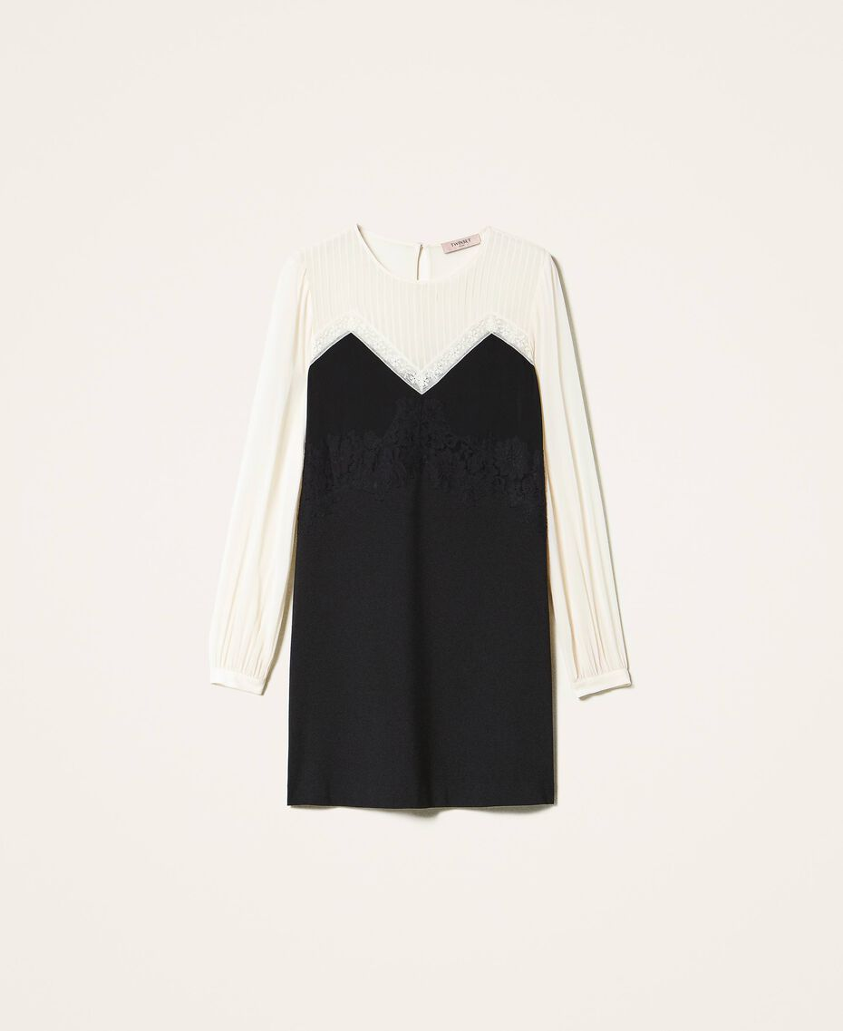 Two-tone dress with lace Two-tone Cream White / Black Woman 202TP2311-0S